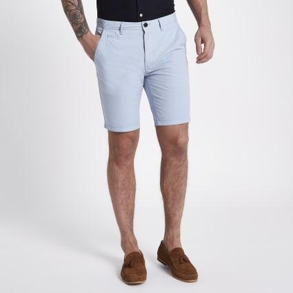 Blue slim fit Oxford chino shorts