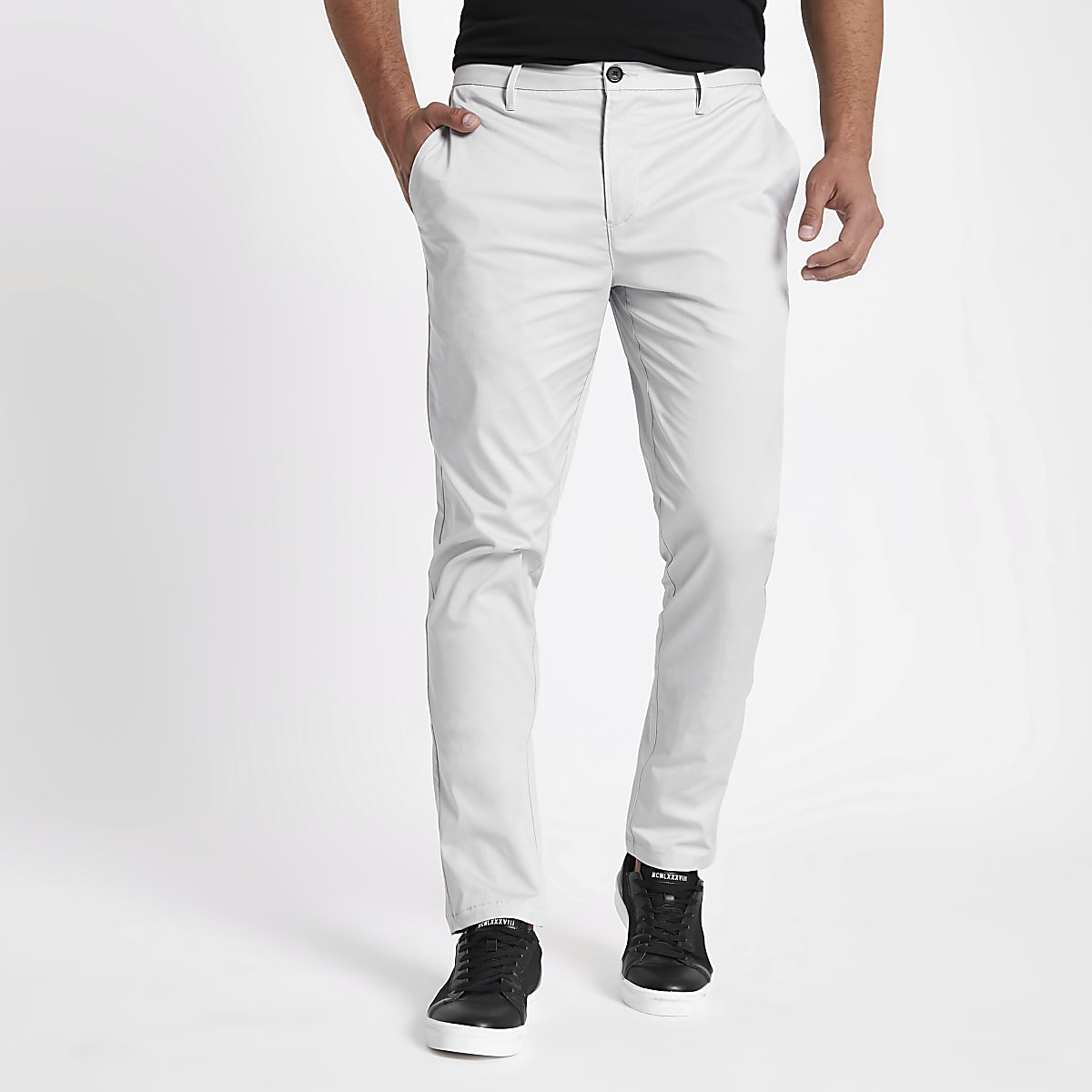 Grey slim fit chino pants