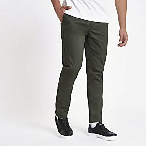 Khaki slim fit chino trousers