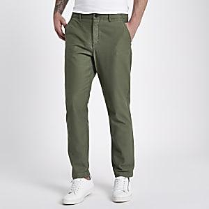 Khaki slim fit tapered chino pants