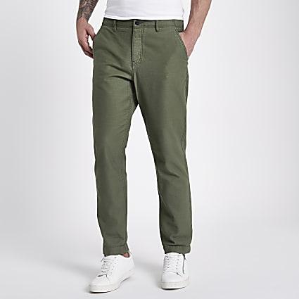 Khaki slim fit tapered chino trousers