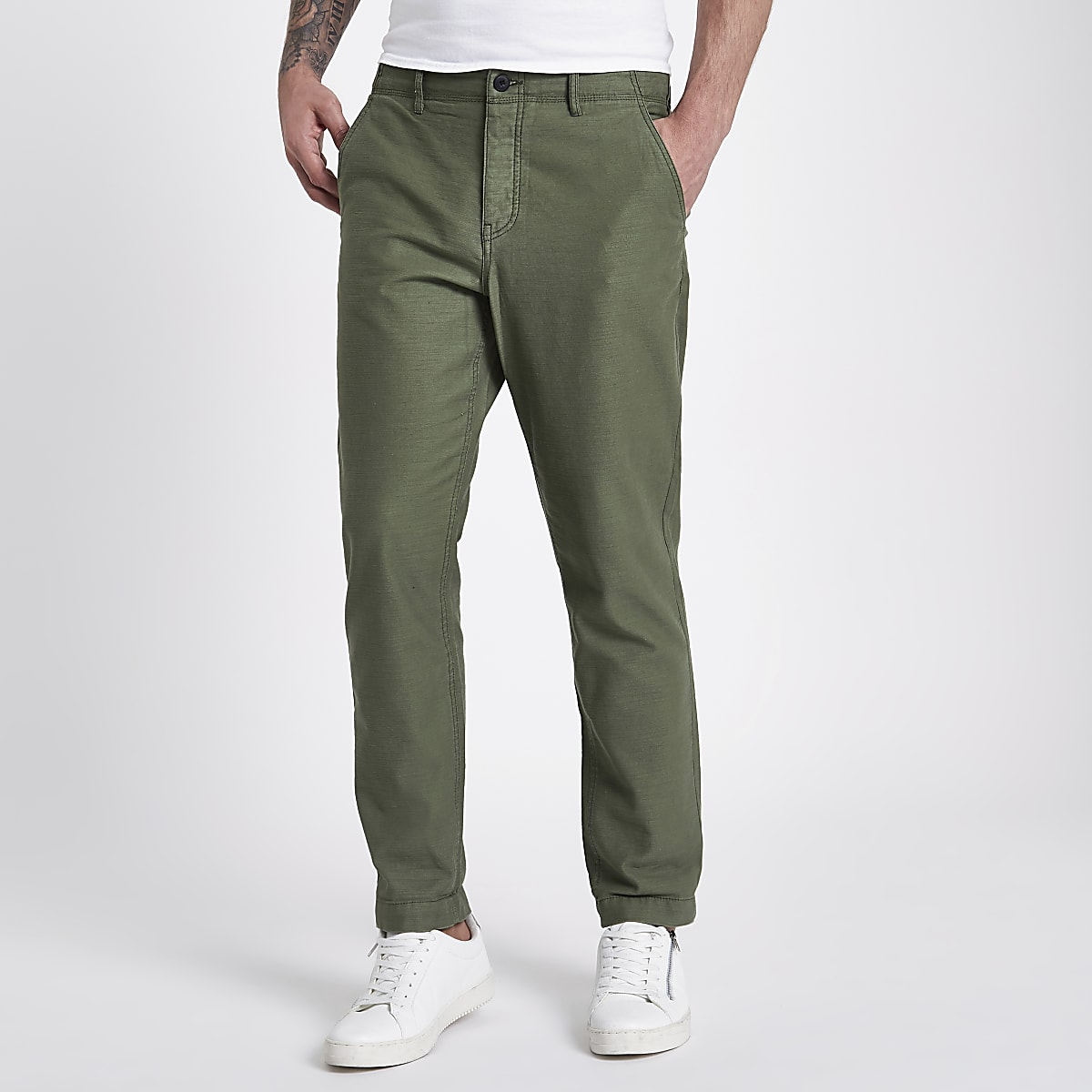 Khaki slim fit tapered chino trousers