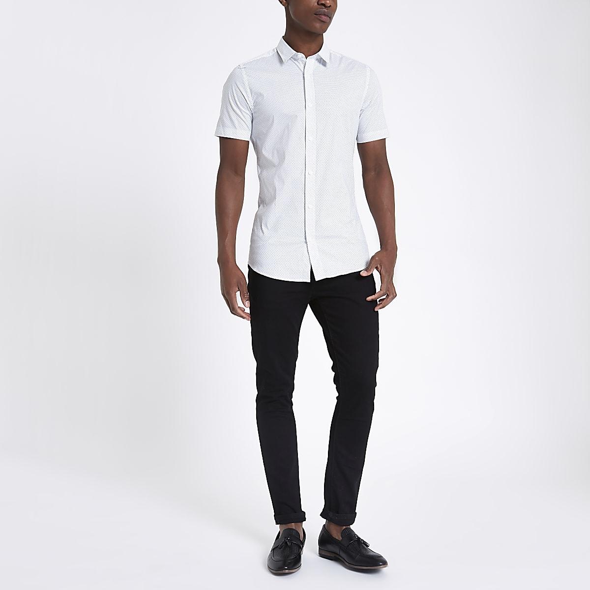 quality design 61c35 0aeba Only & Sons white short sleeve print shirt