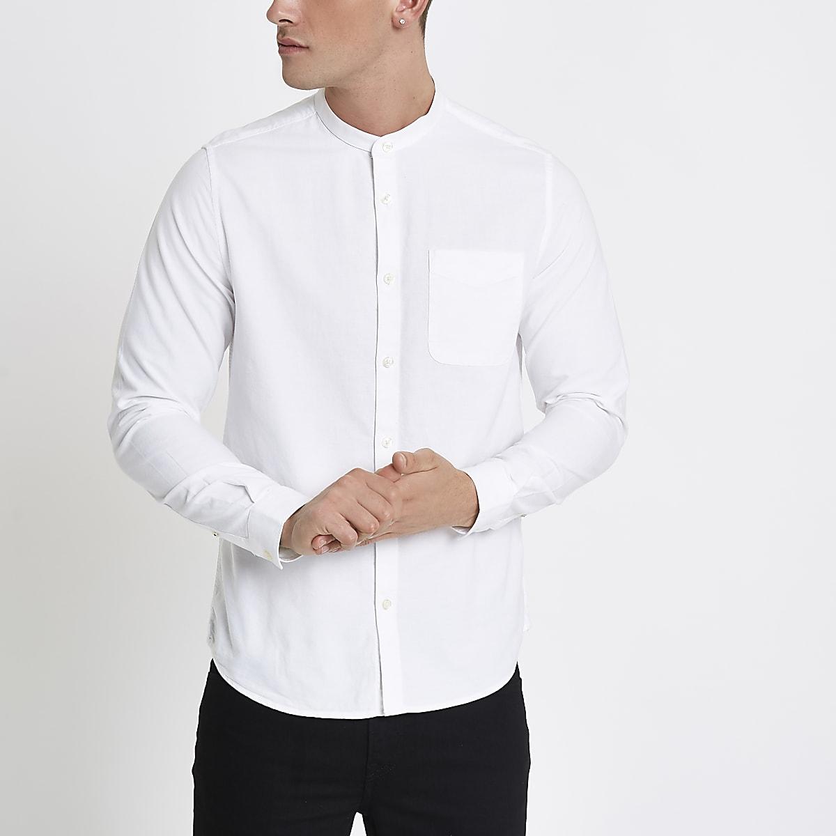 Overhemd Zonder Kraag.Wit Oxford Overhemd Zonder Kraag Met Lange Mouwen Overhemden Met