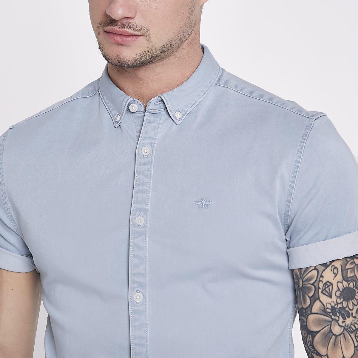 aa916fa19 Light blue wasp muscle fit denim shirt - Short Sleeve Shirts - Shirts - men
