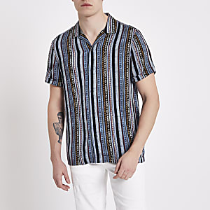 Blue aztec print short sleeve revere shirt