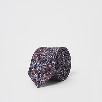 Navy floral leaf tie