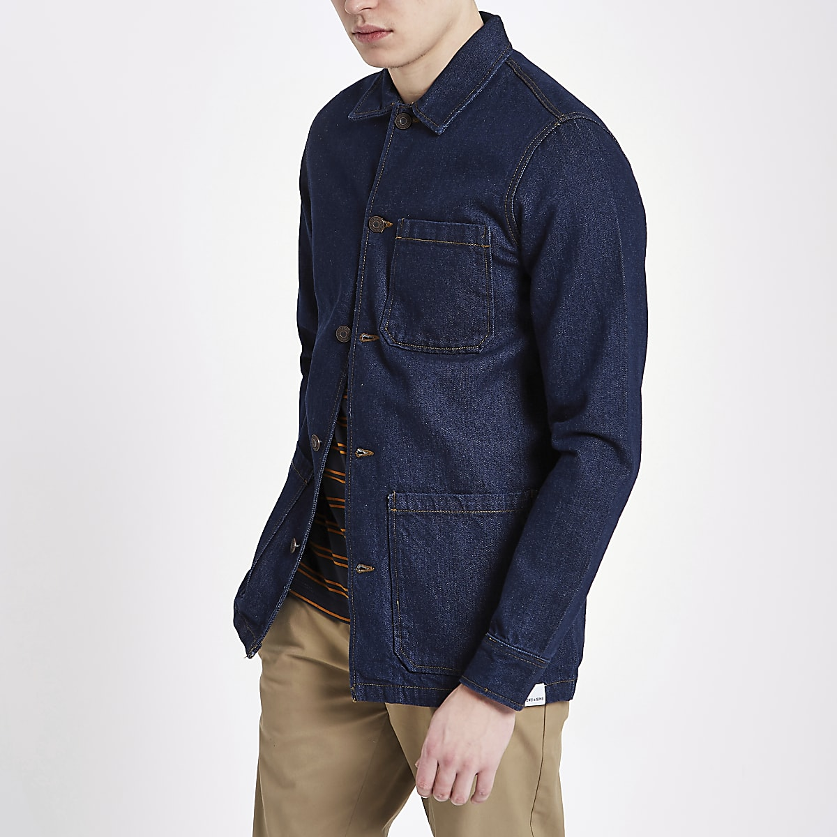 Only & Sons dark blue denim overshirt