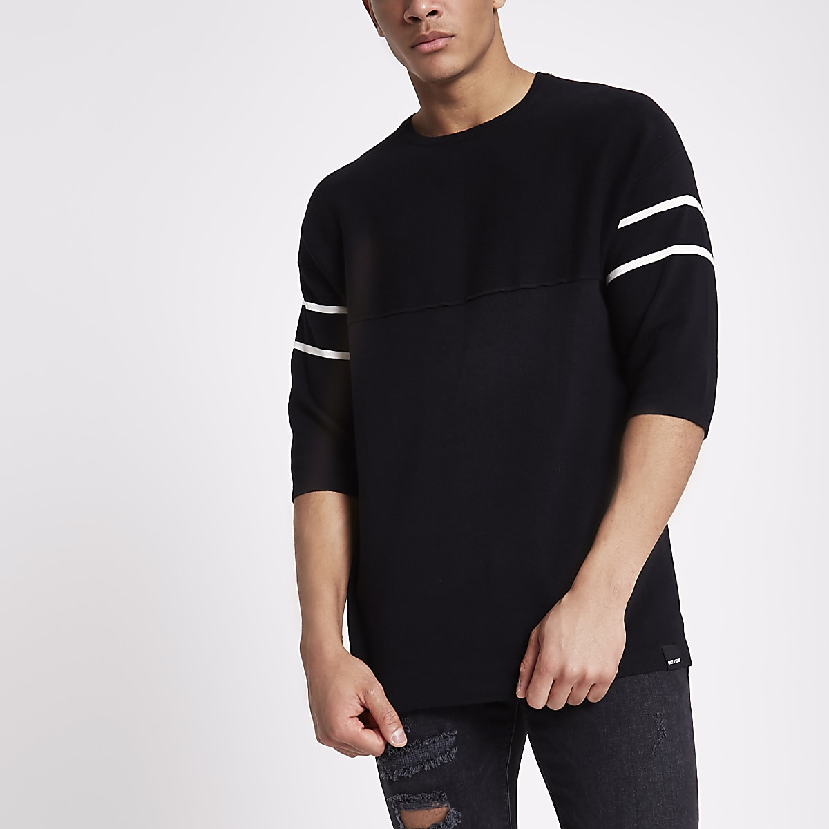 hot new products latest style professional Only & Sons black short sleeve knit jumper