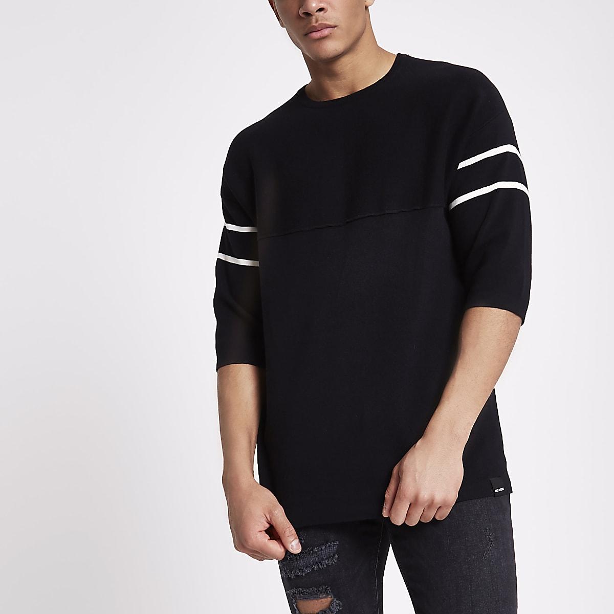 Only & Sons black short sleeve knit jumper