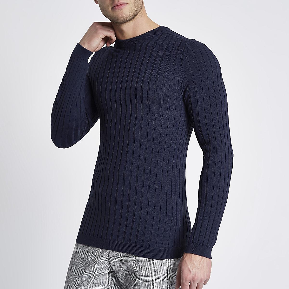 Blue rib knit muscle fit crew neck jumper