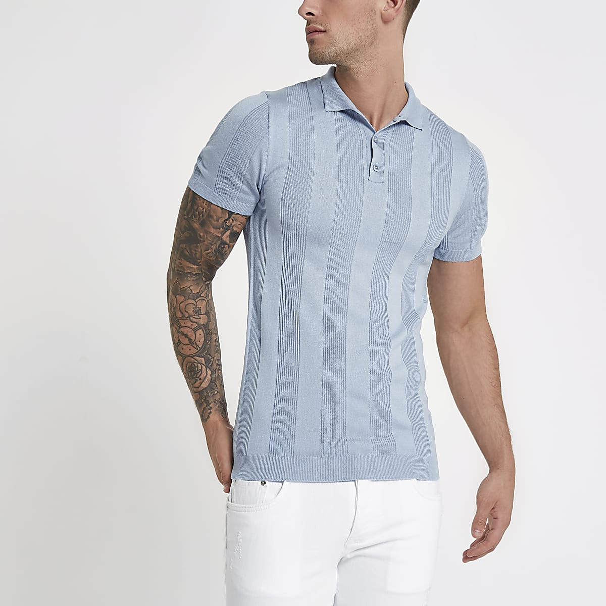 Light blue rib knit muscle fit polo shirt