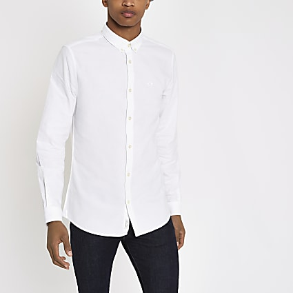 White regular fit Oxford shirt