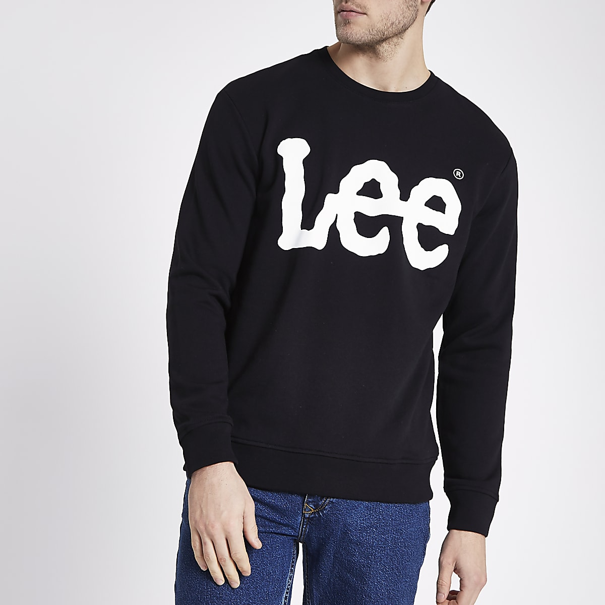 Lee black logo print sweatshirt