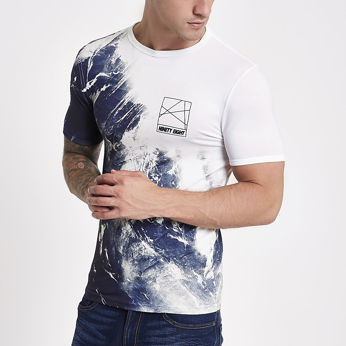 White wave fade print muscle fit T-shirt