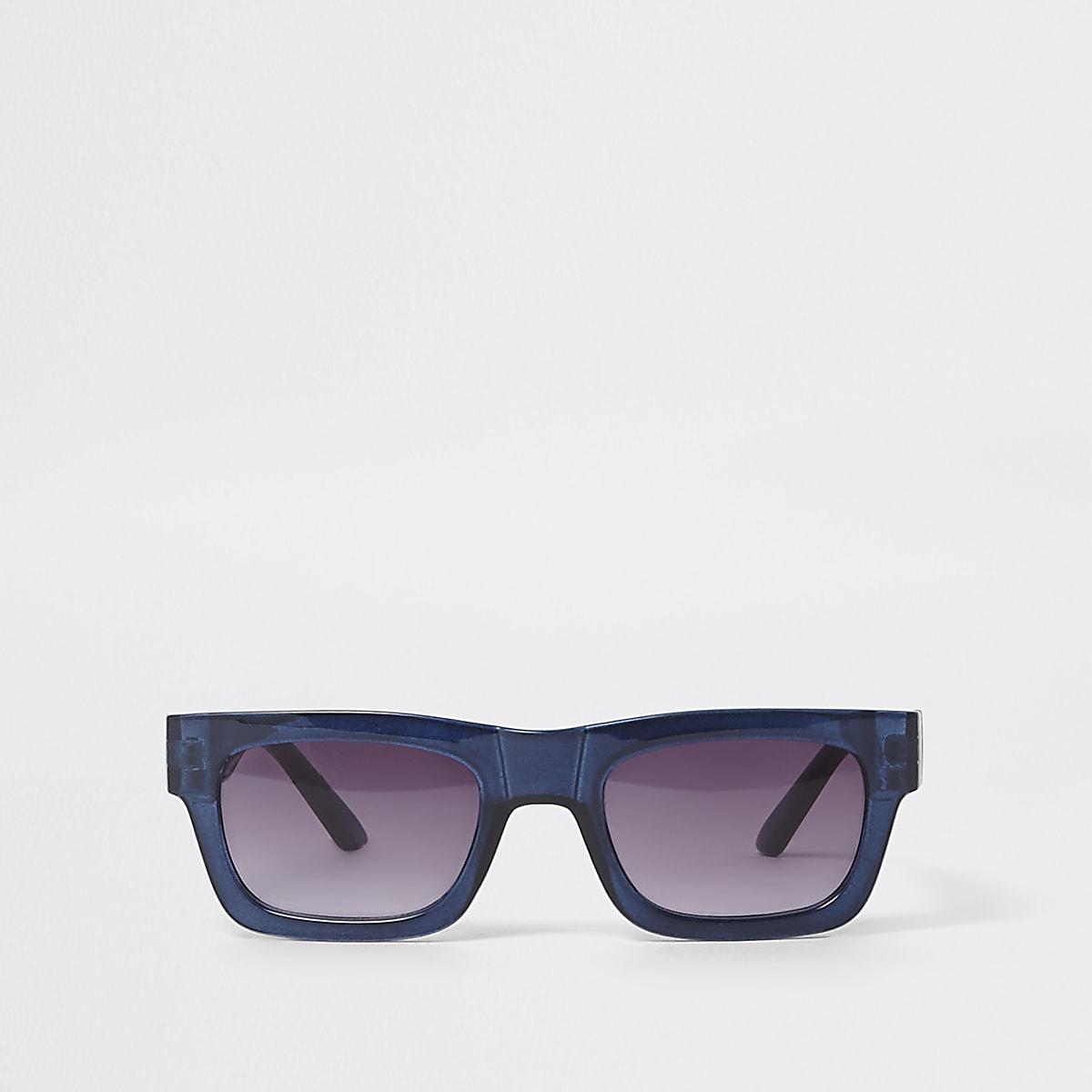 Blue retro smoke lens sunglasses