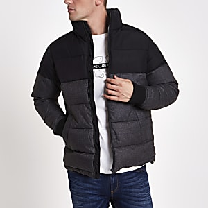 Black and grey colour block puffer jacket