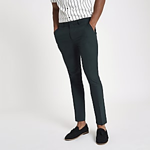 Forest green super skinny smart trousers