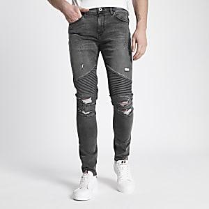 Danny – Jean moto super skinny gris déchiré