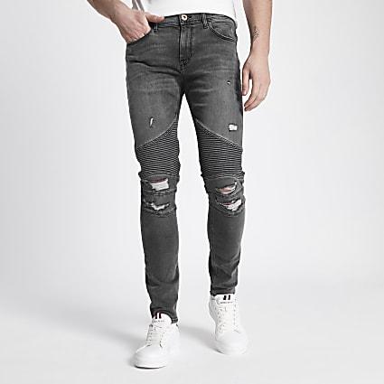 Grey Danny super skinny ripped biker jeans
