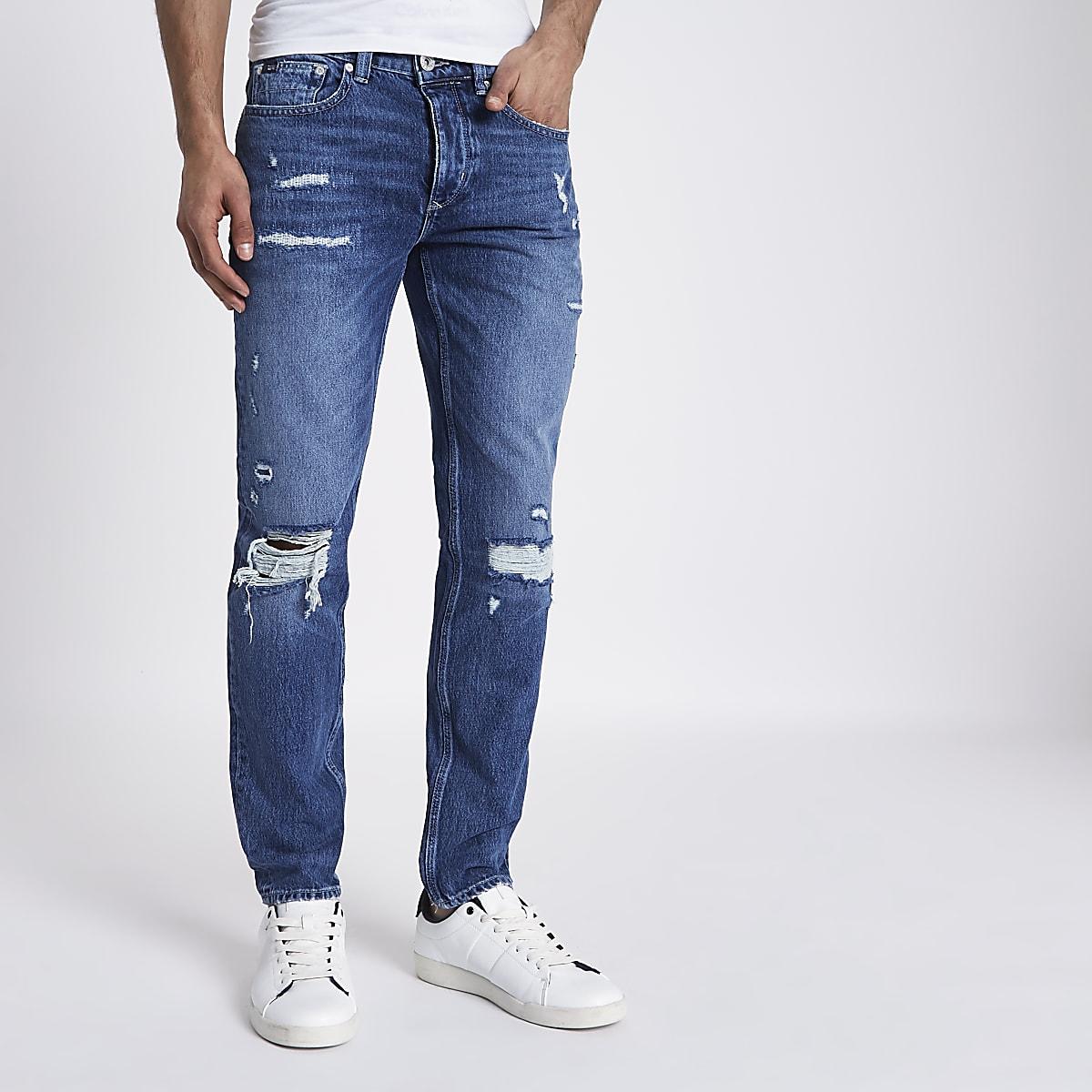 Mid blue Sid ripped warp skinny jeans