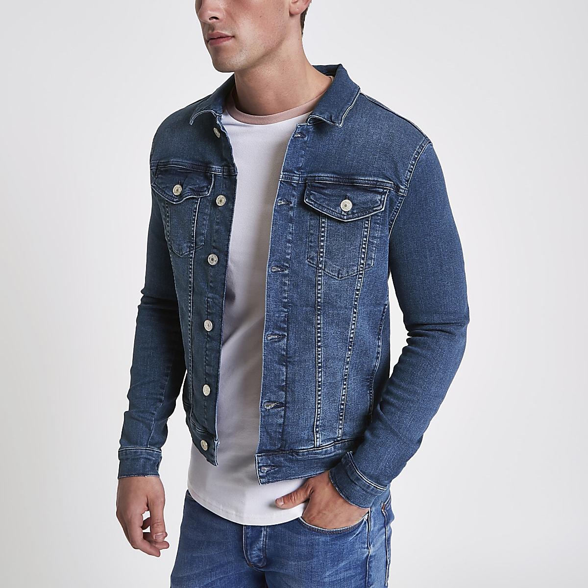 Blue stone wash muscle fit denim jacket