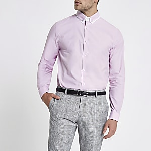 Pink double collar tailored shirt