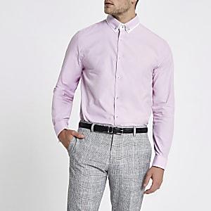 Pinkes Hemd mit doppeltem Kragen