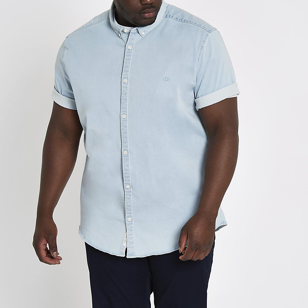 7c053eb358 Big and Tall light blue denim shirt - Short Sleeve Shirts - Shirts - men