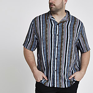 Big and Tall blue aztec print revere shirt