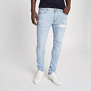 Danny – Hellblaue Superskinny Jeans im Used Look