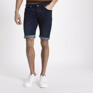 Dunkelblaue Skinny Fit Jeans-Shorts