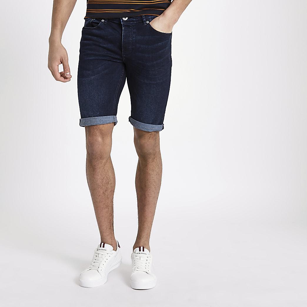 Donkerblauwe skinny-fit denim short