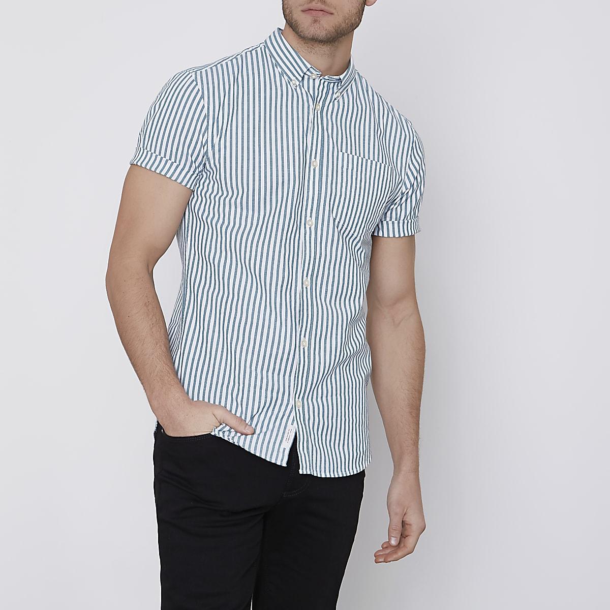 Green stripe muscle fit short sleeve shirt