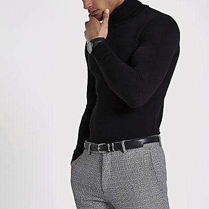 Black slim fit roll neck jumper