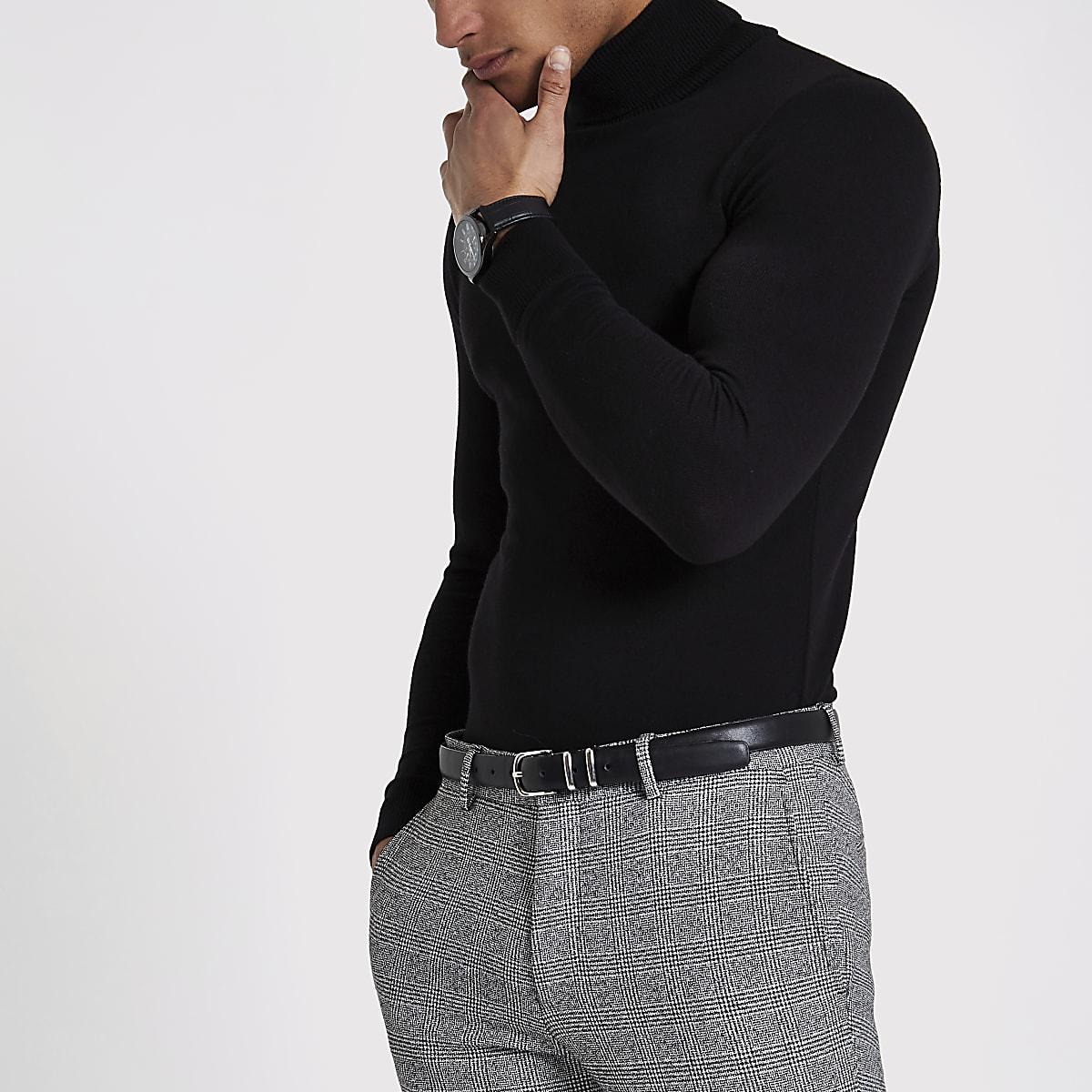 Black slim fit roll neck sweater