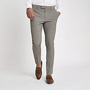 Pantalon de costume skinny écru à petit motif pied-de-poule