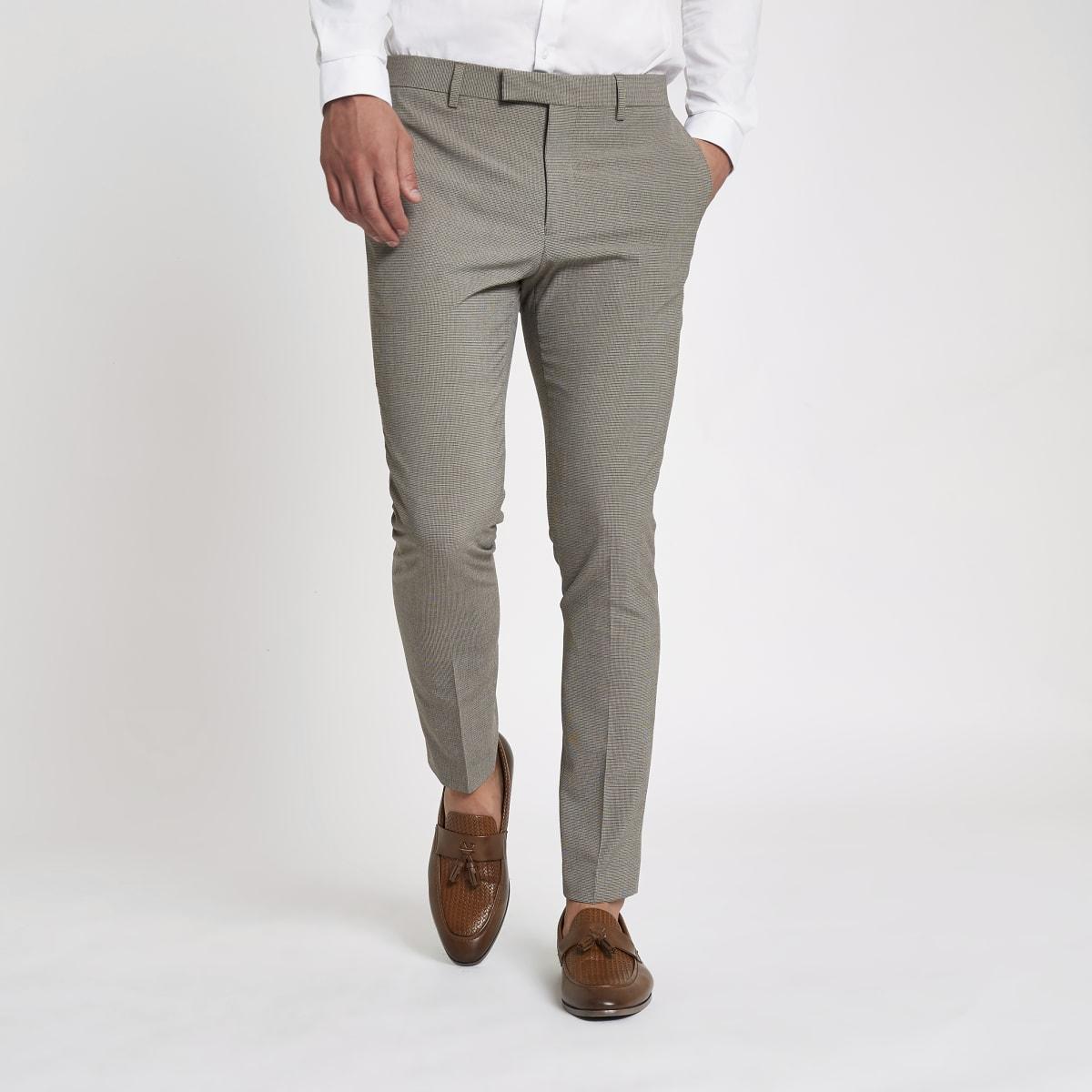Ecru pupstooth super skinny fit suit pants
