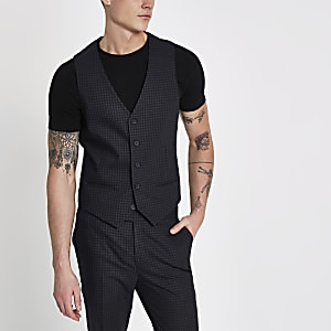 Blue check vest