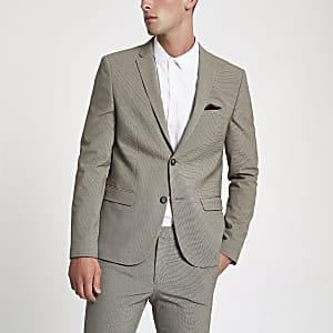 Veste de costume super skinny écrue à petit motif pied-de-poule