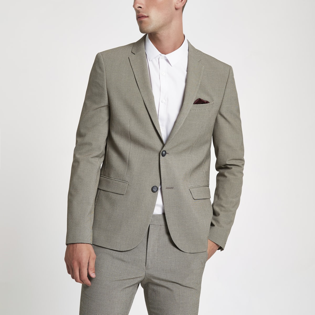Ecru pupstooth super skinny fit suit jacket