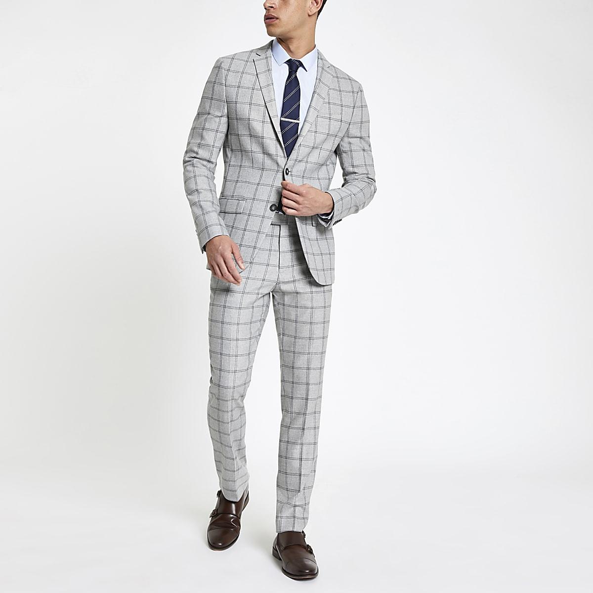 77f59f3360e6 Grey check stretch skinny fit suit jacket - Suit Jackets - Suits - men