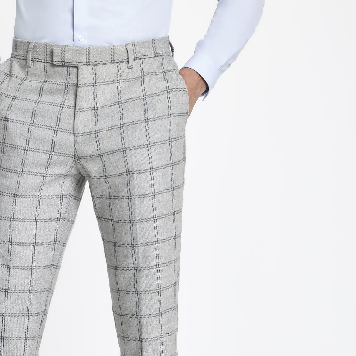 Grey check stretch skinny fit suit trousers