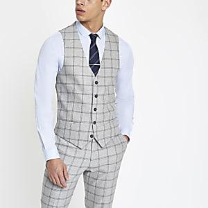 Gilet habillé à carreaux gris clair