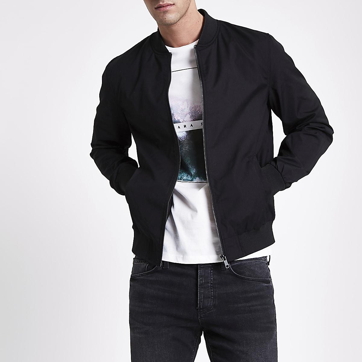 Black casual bomber jacket