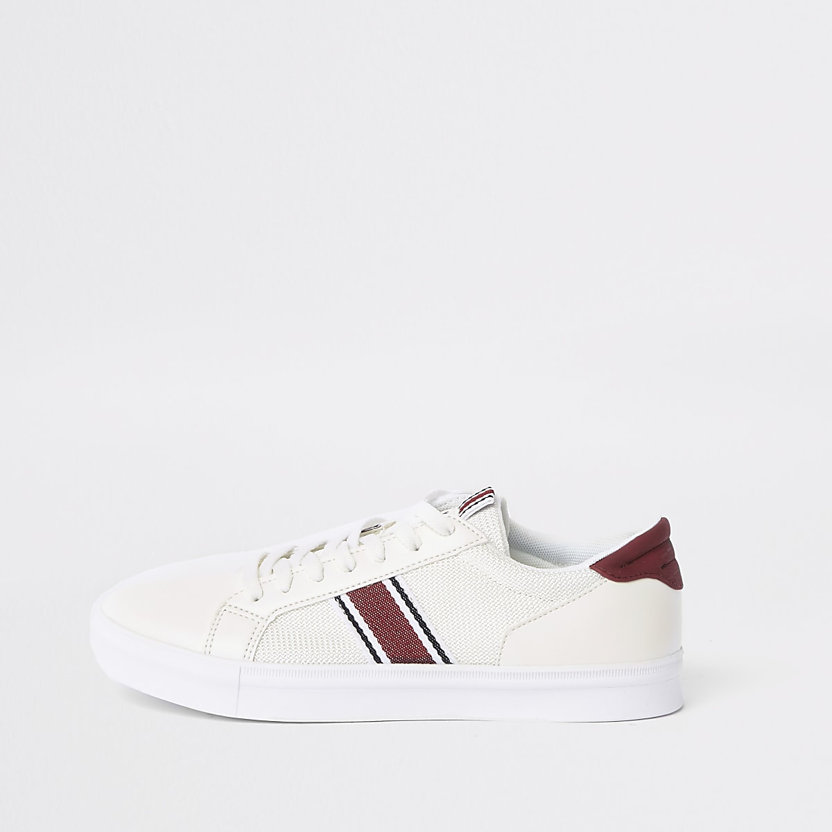 White mesh stripe side lace-up trainers