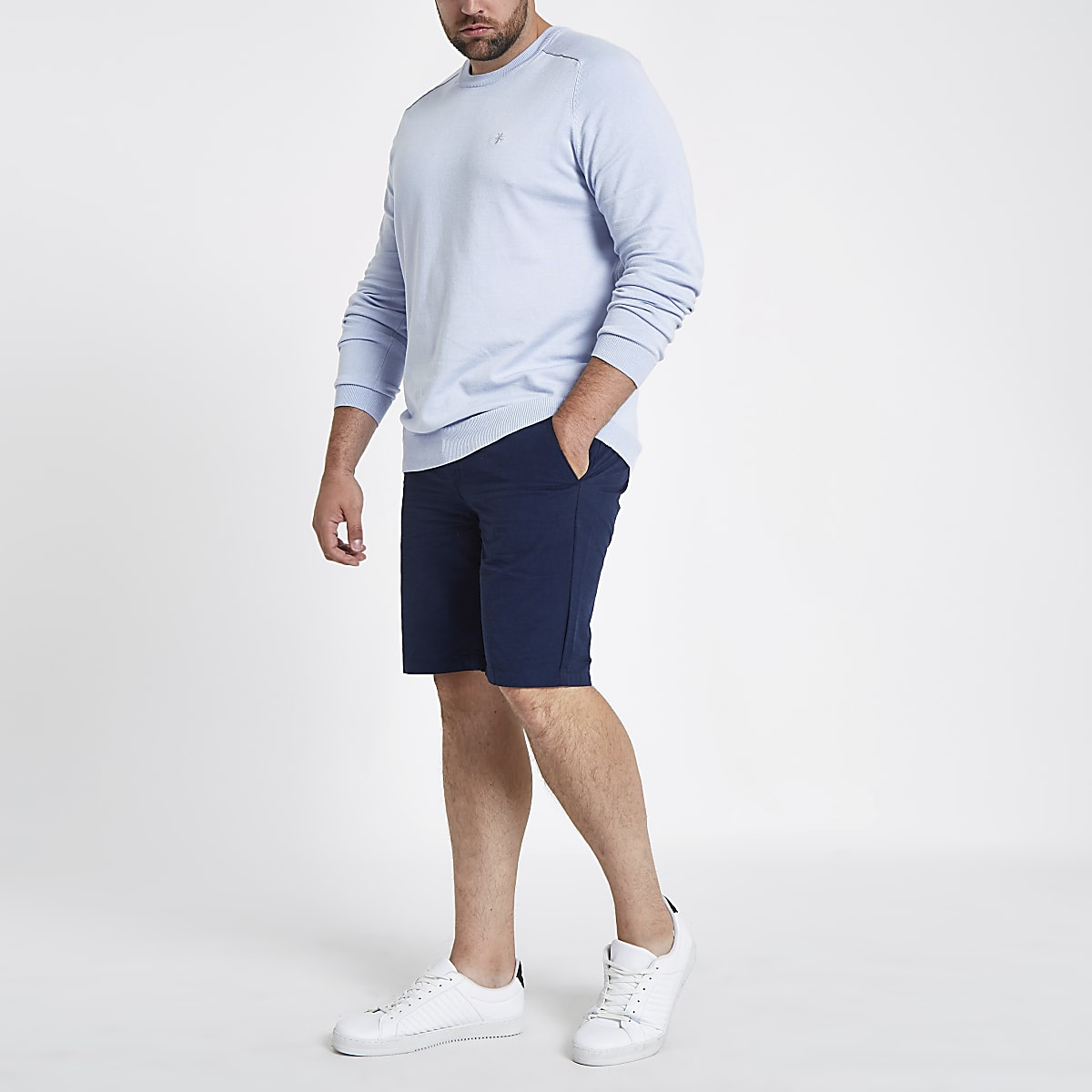 Big and Tall – Short oxford slim bleu marine