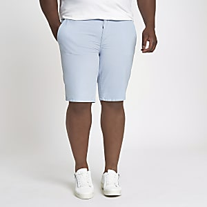 Big and Tall blue slim fit Oxford shorts