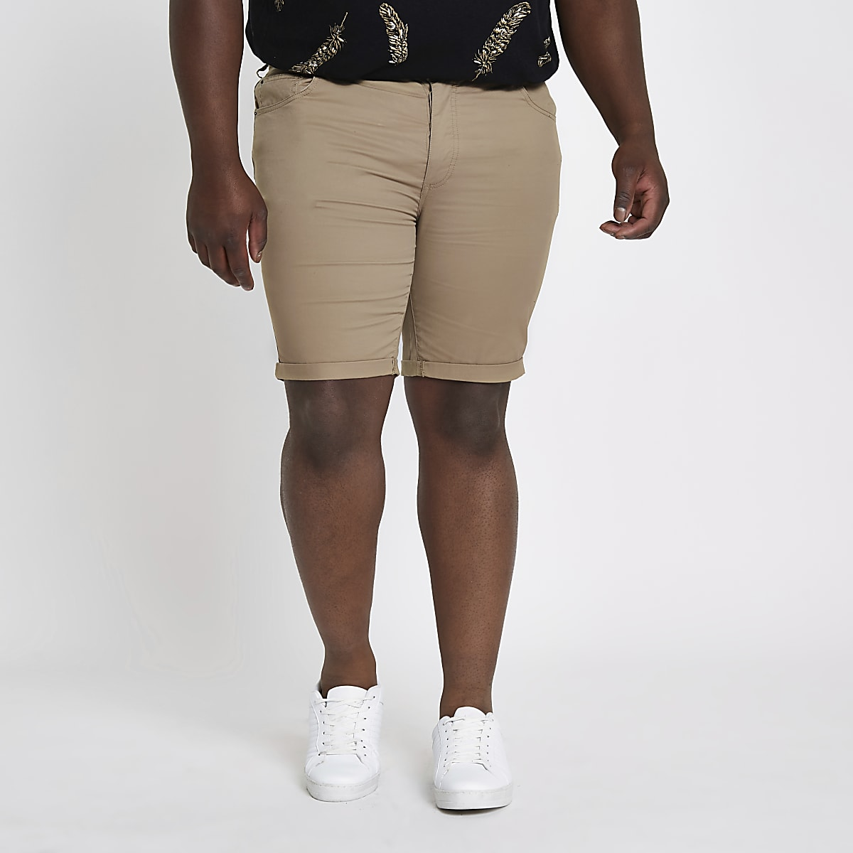 Big and Tall – Hellbraune Skinny Fit Chinoshorts