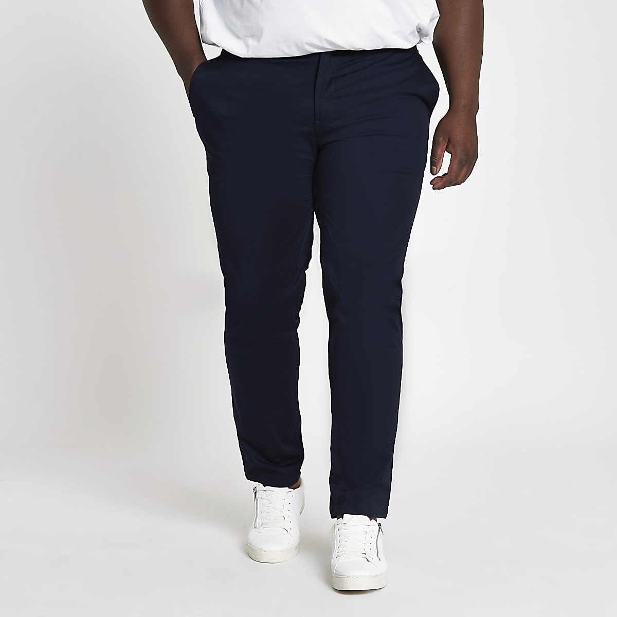 Big & Tall – Pantalon chino slim bleu marine